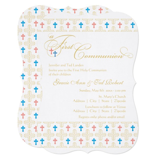 Twin Boy And Girl First Communion Invitation