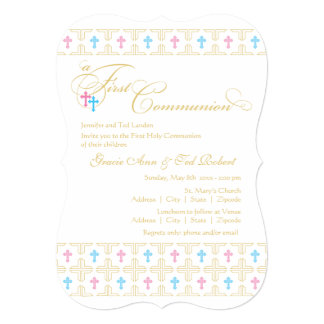 "Twin Boy and Girl First Communion Invitation 5"" X 7"" Invitation Card"