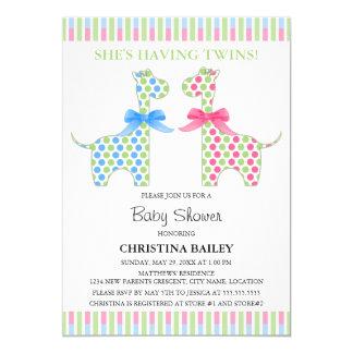 Twin Boy and Girl Giraffe Baby Shower 5x7 Paper Invitation Card