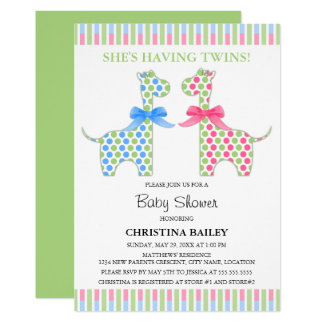 Twin Boy and Girl Giraffe Baby Shower Card