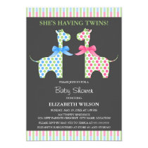 Twin Boy and Girl Giraffe Baby Shower Card