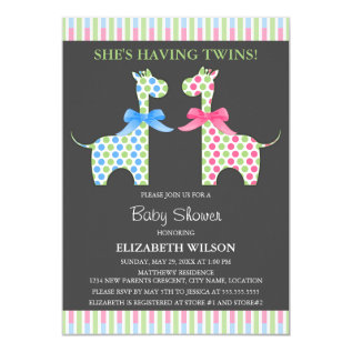 Twin Boy And Girl Giraffe Baby Shower Card at Zazzle