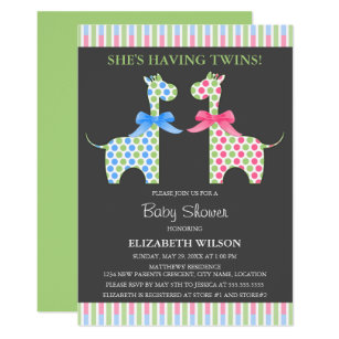 Twin boys baby shower invitations announcements zazzle twin boy and girl giraffe baby shower invitation filmwisefo