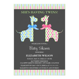 Twin Boy and Girl Giraffe Baby Shower Personalized Invitations