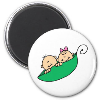 Twin Boy and Girl in Pea Pod 2 Inch Round Magnet