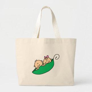 Twin Boy and Girl in Pea Pod Tote Bag