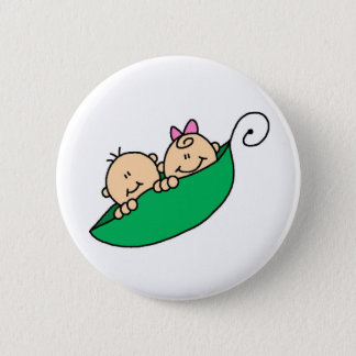 Twin Boy and Girl in Pea Pod Button