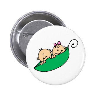 Twin Boy and Girl in Pea Pod 2 Inch Round Button