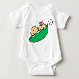 Twin Boy and Girl in Pea Pod Infant Creeper
