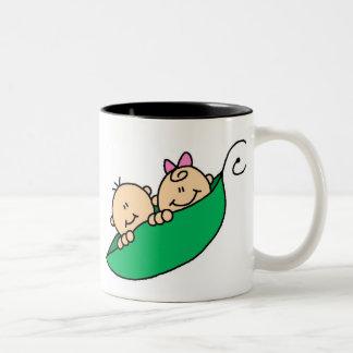 Twin Boy and Girl in Pea Pod Two-Tone Coffee Mug
