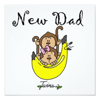 Twin Boy and Girl New Dad Gifts 5.25x5.25 Square Paper Invitation Card