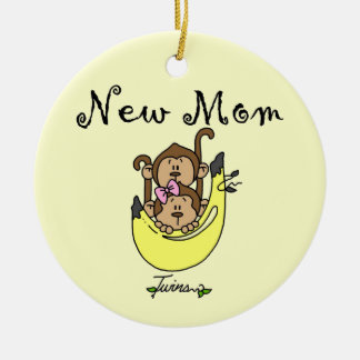 Twin Boy and GIrl New Mom Gifts Ceramic Ornament