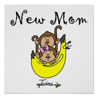 Twin Boy and GIrl New Mom Gifts Poster