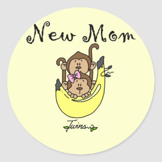 Twin Boy and Girl New Mom Tshirts Classic Round Sticker