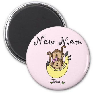 Twin Boy and Girl New Mom Tshirts 2 Inch Round Magnet