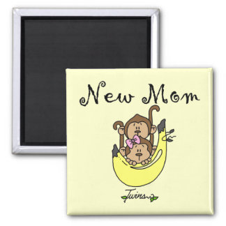 Twin Boy and Girl New Mom Tshirts 2 Inch Square Magnet
