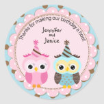 Twin Boy and Girl Owls Birthday Thank You Stickers