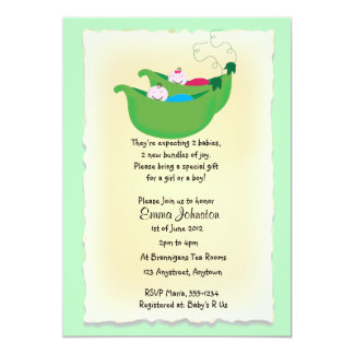 Twin boy and Girl Peas in a Pod baby shower invite
