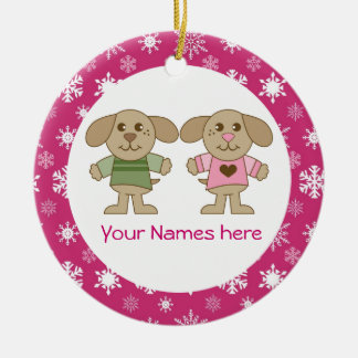 Twin Boy and Girl Pink Christmas Keepsake Gift Double-Sided Ceramic Round Christmas Ornament