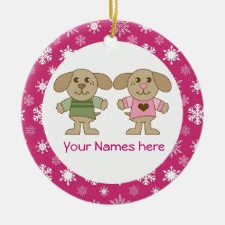 Twin Boy and Girl Pink Christmas Keepsake Gift Christmas Ornaments