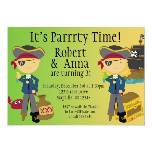 "Twin Boy and Girl Pirate Birthday Party Invitation 5"" X 7"" Invitation Card"