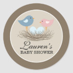 Twin Boy Baby Bird's Nest Baby Shower Round Sticker