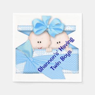 Twin Boy Baby Shower Paper Napkins