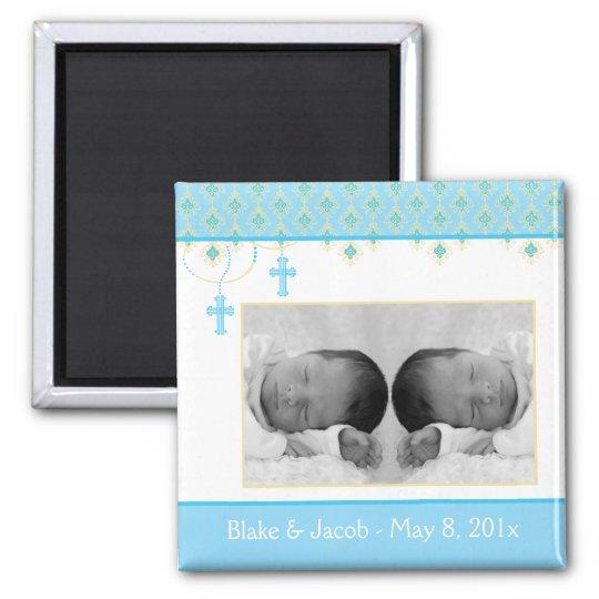 Twin Boy Baptism/Christening Favor - Photo Magnet