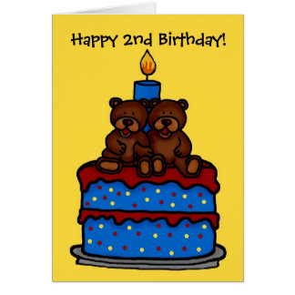 twin boy bears on cake birthday 2 greeting cards