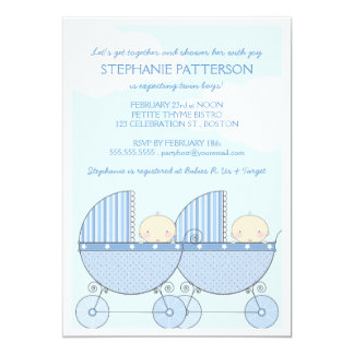 Twin Boy Blue Carriage Happy Baby Shower 5x7 Paper Invitation Card