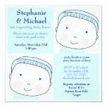 "Twin Boy Blue Couples Baby Shower Invitation 5.25"" Square Invitation Card"
