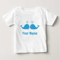 Twin Boy Blue Whale Cute Baby T-Shirt