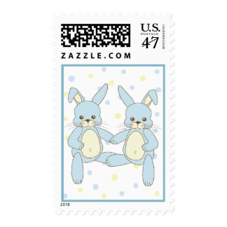 Twin Boy Bunny Rabbits Baby Postage Stamp