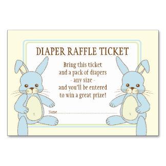 Twin Boy Bunny Rabbits Baby Shower Diaper Raffle Table Card