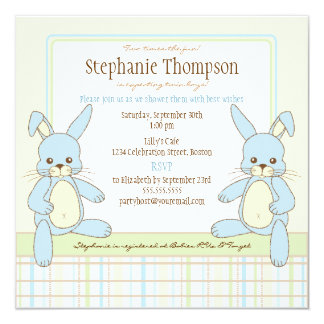 Twin Boy Bunny Rabbits Baby Shower Invitation