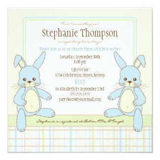 Twin Boy Bunny Rabbits Baby Shower Invitation