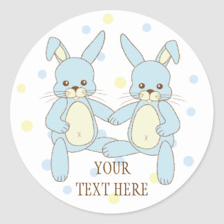 Twin Boy Bunny Rabbits Baby Shower Stickers