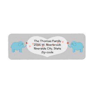 Twin Boy Elephants Return Label