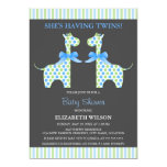 Twin Boy Giraffe Baby Shower 5x7 Paper Invitation Card