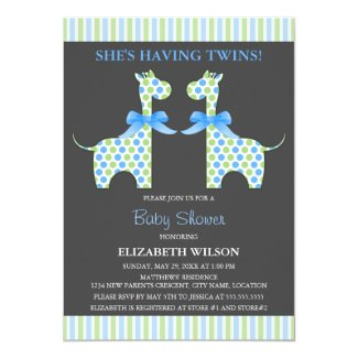 Twin Boy Giraffe Baby Shower 5x7 Paper Invitation Card