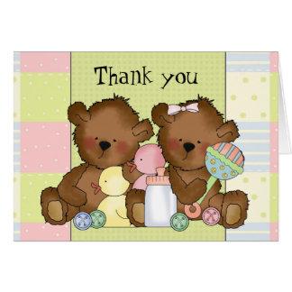 Twin Boy Girl baby bear thank you greeting card