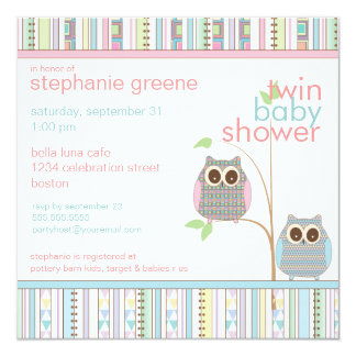 Twin Boy & Girl Baby Owl PInk & Blue Baby Shower Card