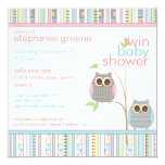 Twin Boy & Girl Baby Owl PInk & Blue Baby Shower 5.25x5.25 Square Paper Invitation Card