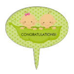 Twin Boy & Girl Baby Shower Cake Topper
