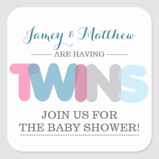 Twin Boy/Girl Baby Shower Envelope Seal Stickers