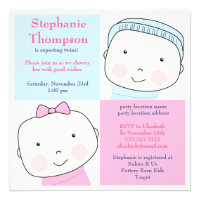 Twin Boy Girl Blue Pink Baby Shower Invitation