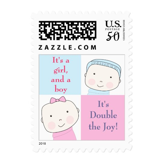 Twin Boy Girl Blue Pink Custom Postage