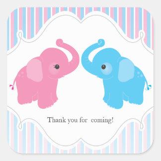 Twin Boy & Girl Elephant Baby Shower Favor Sticker