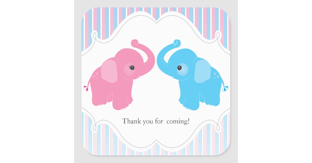 Twin Boy Amp Girl Elephant Baby Shower Favor Sticker