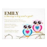 Twin Boy & Girl Owls Baby Shower Invitation